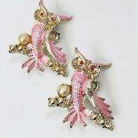 Owl Scatter Pin Set Pink Faux Pearl Vintage Brooch Pair Bird on Branch