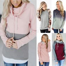 Womens Long Sleeve Pullover Tunic Tops Hooded Jumper Sweater Hoodies Sweatshirt