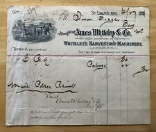 1891 Invoice Whitley's Harvesting Machinery St. Louis, MO Rare Vintage