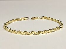"18k Solid Yellow Gold Diamond Cut Rope Chain Bracelet 7"" 4  mm 10 grams"