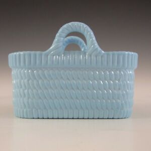 MARKED Sowerby Victorian Blue Milk Glass Antique Basket Bowl