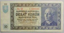 1939 Slovak State 10 Korun Note, Specimen Bill, Very High Grade, Old World Note