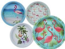 Rundes Metall Tablett Flamingo Serviertablett Flamingos Küchentablett Karibik