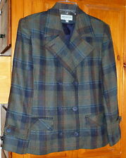 JORDAN & COLE * Double Breasted Plaid WOOL JACKET Olive Gray, Black Blue Lined S