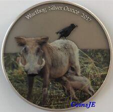 Cameroun 1000 Fra 2017 Africa Warthog Cololoured 1oz .999 Silver Antique Finish