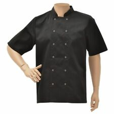 Hubert Chef Coat Short Sleeve Black Poly Cotton Short Sleeve Chef Coat - Large