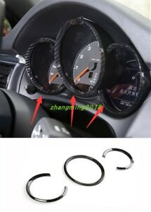Carbon Fiber style Dashboard Meter Ring Covers Trim For Porsche Macan 2014-2018