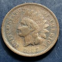 1867 Indian Head Cent RARE Key Date - Mid Grade One Penny #9946