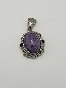 ARTISAN STERLING SILVER CHAROITE AND AMETHYST PENDANT