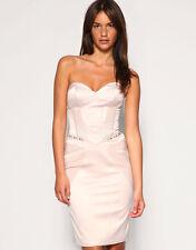 Karen Millen Pale Pink/Lilac Strapless Corset Pencil Wiggle Dress 12