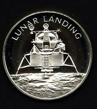 APOLLO 13 SPACE FLOWN TO THE MOON MATERIAL LARGE SILVER COIN - Lunar Landing