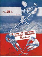 1942-43 Chicago Black Hawks-Red Wings Program Wings Top Hawks GEM!!