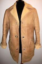 Mens 36 / 38 Real Brown Shearling Sheepskin Wool Fur Jacket Overcoat Coat