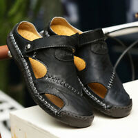 Men's Summer Leather Summer Hand Stitching Closed Toe Sandals Hiking Shoes