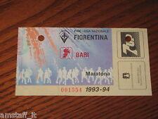 * FIORENTINA BARI CAMPIONATO SERIE A 1993/94=BIGLIETTO=TICKET=