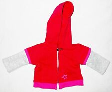 """Red Gray 6"""" Zipper Front Hoodie American Girl Doll Clothes"""