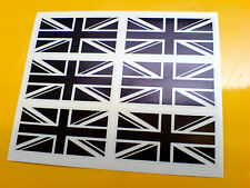 Union Jack Flag Negro Sobre Claro Set De 6 Uk GB coche Bumper Stickers Calcomanías De 50 Mm