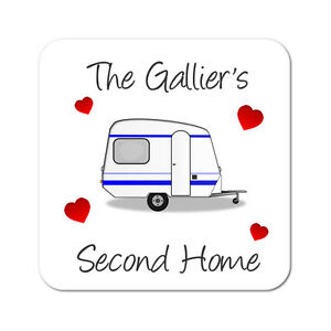 """Personalised Caravan """"Second Home"""" """"Home From Home"""" Gift Coaster"""