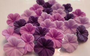 30 Edible Sugar Paste Flowers,  Purple Cake Decorations Cupcake Topper