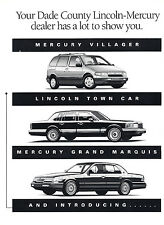1993 Mercury Grand Marquis and Lincoln Original Advertisement Car Print Ad J367