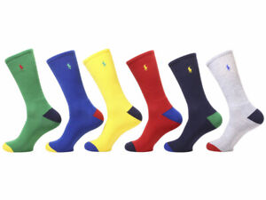 Polo Ralph Lauren Men's Sport Crew Socks 6-Pairs Green/Red/Blue 10-13 Fit 6-12.5