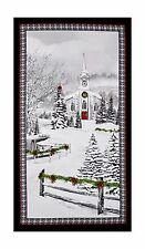 Home For The Holidays Christmas Fabric Panel Snow Church Trees Premium Cotton