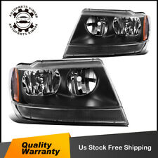 For 99-04 Jeep Grand Cherokee Black Amber Replacement Headlights/Lamp Left+Right