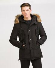Zara Man Hooded Winter Coat Black Sz Med Nwt