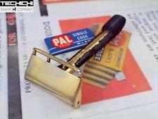 GEM Pushbutton Single Edge Vintage Safety Razor for Shaving Gold