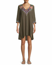 Johnny Was Pratt 3/4 sleeve vintage Army green Tunic/Dress Embroidered  S