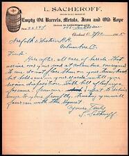 1905 Cleveland OH - Oil Barrels Metals Iron Old Rope - L Sacheroff Letter Head