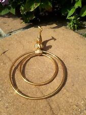 Vintage Retro Gold Double Bathroom Towel Ring Holder Mermaid Brass Plated Metal