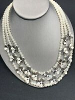 Vintage Necklace White 3 Strand Lucite Pearl Rhinestone Statement Necklace  18""