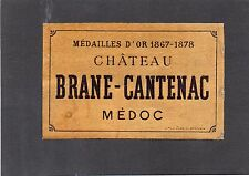 MARGAUX 2E GCC VIEILLE LITHOGRAPHIE CHATEAU BRANE CANTENAC 1880/1890 §19/08/17§