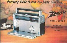 Zenith Trans-oceanic Royal 3000-1 Owner's and Service Manual-Free Shipping