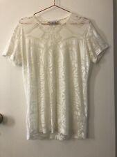 Womens Designer Jonathan Saunders White Mesh Tshirt Size Small (8-10 AUS)
