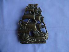 More details for antque reclaimed brass ship door knocker sailing ship height 15 cm x 11 cm