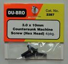 DU-BRO 3.0 X 10MM COUNTERSUNK HEX HEAD MACHINE SCREWS (PKG. OF 4)( CAT. # 2287 )
