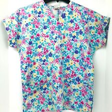 Simply Basic Size Small Blue With Pink Purple And Yellow Flowers Nurse Scrub Top
