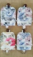 set 4 Pcs Floral Key Ring Cover Keychain Fabric Lace Protect Purse Wallet Gift
