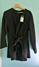 NEW Ralph Lauren Ladies Wool Blend Wrap Coat Black Size Medium RRP  $495 / £401
