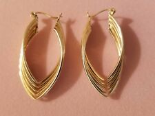 14 kt. Gold Earrings Vintage 1980's Multi Tube Drop Unique Hoop Design