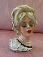 Inarco E-3524 Head Vase Blond Long Lashes Ruffles 7""