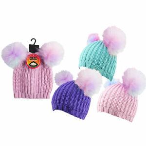 Girls Kids Heat Machine Warm Winter Knitted UNICORN Thermal DOUBLE Bobble Hat