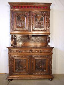 K413 Herrliches Gründerzeit Buffet Bretagne um 1890 Figuren Porträts Historismus