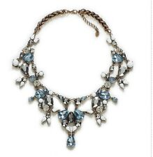 GENUINE Zara Multi Crystal Blue Large Bib Choker Fashion Statement Necklace N289
