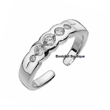 Genuine! 925 Hallmarked Solid Sterling Silver Cubic Zirconia Adjustable Toe Ring