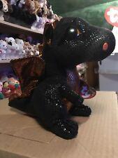 Ty MERLIN -Black/Orange/Gold Halloween Dragon Beanie Boo Buddy! *Exclusive* VHTF