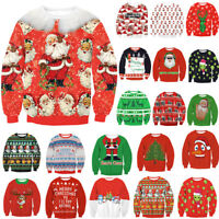 new Cotton Blend UGLY XMAS Women Men Sweatshirt CHRISTMAS SWEATER Santa Elf