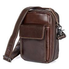 """Mens Genuine Leather Messenger Bag Satchel 7.9"""" Tablet Packs Shoulder Cross body"""